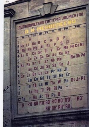 A giant wall Periodic Table erected in St Petersburg Russia in 1934